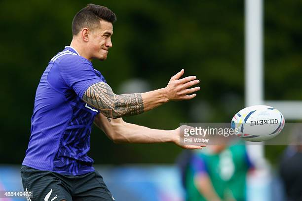 Sonny Bill Williams of the All Blacks passes during a New Zealand All Blacks training session at Lensbury on September 16, 2015 in London, United...