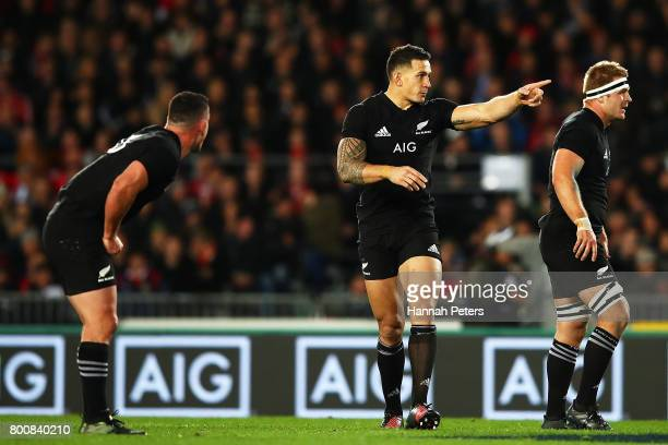Sonny Bill Williams of the All Blacks points out th defence during the Test match between the New Zealand All Blacks and the British Irish Lions at...