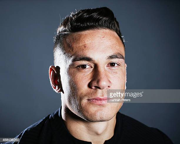 Sonny Bill Williams of the All Blacks poses during a New Zealand All Blacks portrait session on October 26 2014 in Auckland New Zealand