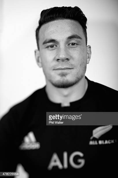 Sonny Bill Williams of the All Blacks poses during the New Zealand All Blacks portrait session at The Spencer on Byron Hotel on June 24 2015 in...