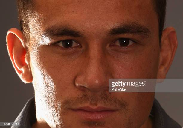 Sonny Bill Williams of the All Blacks poses for a portrait during a New Zealand All Blacks press conference at the Royal Garden Hotel in Kensington...