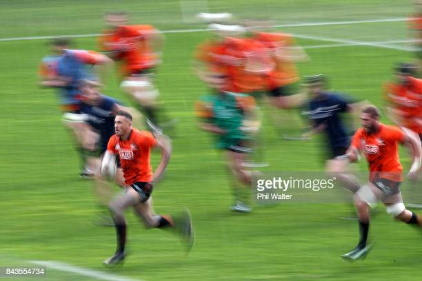 Sonny Bill Williams of the All Blacks runs into space during the New Zealand All Blacks training session at Yarrow Stadium on September 7 2017 in New...