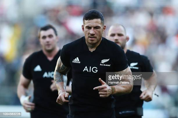 Sonny Bill Williams of the All Blacks runs off for half time during the Bledisloe Cup test match between the New Zealand All Blacks and Australian...