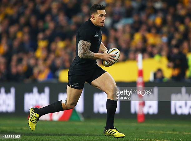 Sonny Bill Williams of the All Blacks runs with the ball during The Rugby Championship match between the Australia Wallabies and the New Zealand All...