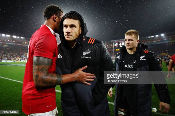 Sonny Bill Williams of the All Blacks shakes hands with Courtney Lawes of the Lions after losing the International Test match between the New Zealand...