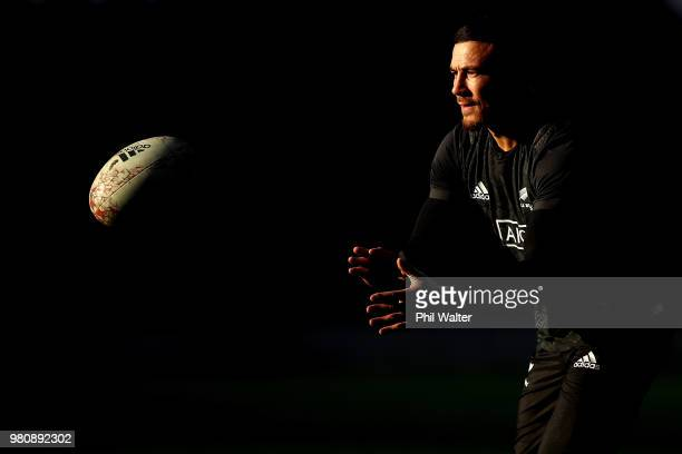 Sonny Bill Williams of the All Blacks takes a pass during the New Zealand All Blacks Captain's Run at Forsyth Barr Stadium on June 22, 2018 in...