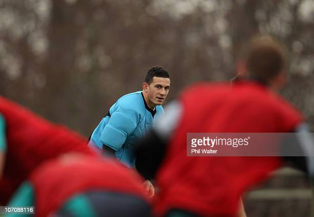 Sonny Bill Williams of the All Blacks waits for the ball during a New Zealand All Blacks Training Session at the University of Bath on November 23...
