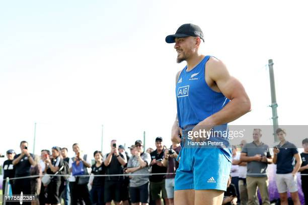Sonny Bill Williams of the All Blacks walks out for a New Zealand All Blacks Rugby World Cup Captain's Run at Tatsuminomori Seaside Park on September...