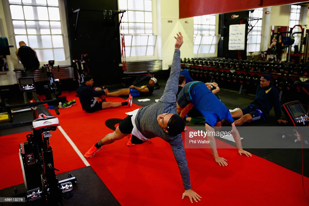 Sonny Bill Williams of the All Blacks warms up during a New Zealand All Blacks Gym session at the Cardiff University Strength and Conditioning Centre on November 17, 2014 in Cardiff, Wales.
