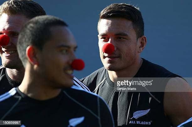 Sonny Bill Williams of the All Blacks with a Red Nose as part of a Charity Fund raiser during a New Zealand All Blacks captain's run at Eden Park on...