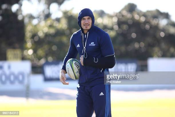Sonny Bill Williams of the Auckland Blues looks on with an injury during a Blues Super Rugby training session at Blues HQ on July 3 2018 in Auckland...
