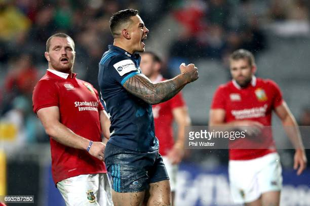 Sonny Bill Williams of the Blues celebrates his try during the match between the Auckland Blues and the British Irish Lions at Eden Park on June 7...