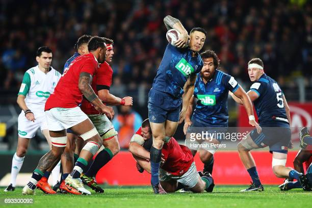 Sonny Bill Williams of the Blues charges forward during the match between the Auckland Blues and the British Irish Lions at Eden Park on June 7 2017...