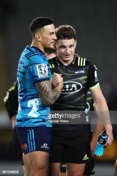 Sonny Bill Williams of the Blues congratulates Beauden Barrett of the Hurricanes after the round 12 Super Rugby match between the Blues and the...
