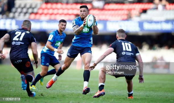 Sonny Bill Williams of the Blues during the Super Rugby match between Cell C Sharks and Blues at Jonsson Kings Park on February 23 2019 in Durban...