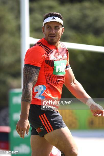 Sonny Bill Williams of the Blues during training prior to the Blues Media Session at Alexandra Park on February 12 2019 in Auckland New Zealand
