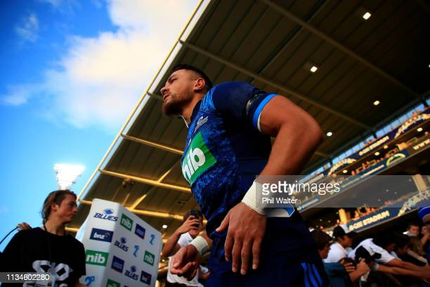 Sonny Bill Williams of the Blues leads the team out for the round four Super Rugby match between the Blues and the Sunwolves at QBE Stadium on March...