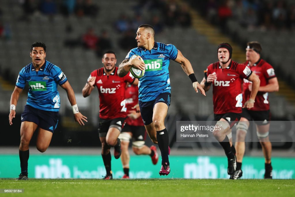Sonny Bill Williams of the Blues makes a break during the round 14 Super Rugby match between the Blues and the Crusaders at Eden Park on May 19, 2018 in Auckland, New Zealand.