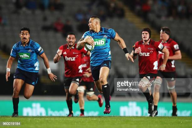 Sonny Bill Williams of the Blues makes a break during the round 14 Super Rugby match between the Blues and the Crusaders at Eden Park on May 19 2018...