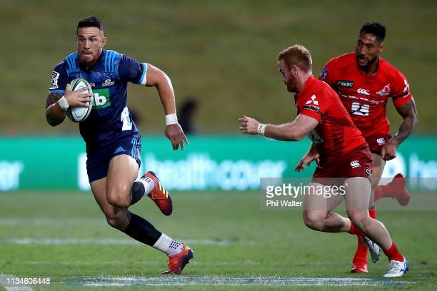 Sonny Bill Williams of the Blues makes a break during the round four Super Rugby match between the Blues and the Sunwolves at QBE Stadium on March 09...