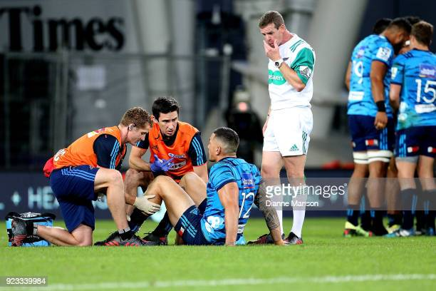 Sonny Bill Williams of the Blues requries treatment during the round two Super Rugby match between the Highlanders and the Blues at Forsyth Barr...