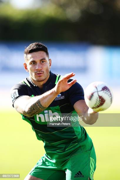Sonny Bill Williams of the Blues runs through drills during an Auckland Blues Super Rugby training session at Eden Park on June 5 2017 in Auckland...