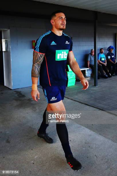 Sonny Bill Williams of the Blues walks out to warm up ahead of the Super Rugby trial match between the Blues and the Hurricanes at Mahurangi Rugby...