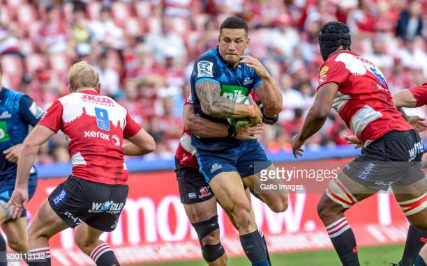 Sonny Bill Williams of the Blues with possession during the Super Rugby match between Emirates Lions and Blues at Emirates Airline Park on March 10...