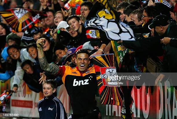 Sonny Bill Williams of the Chiefs celebrates his try with the crowd during the Super Rugby Final between the Chiefs and the Sharks at Waikato Stadium...