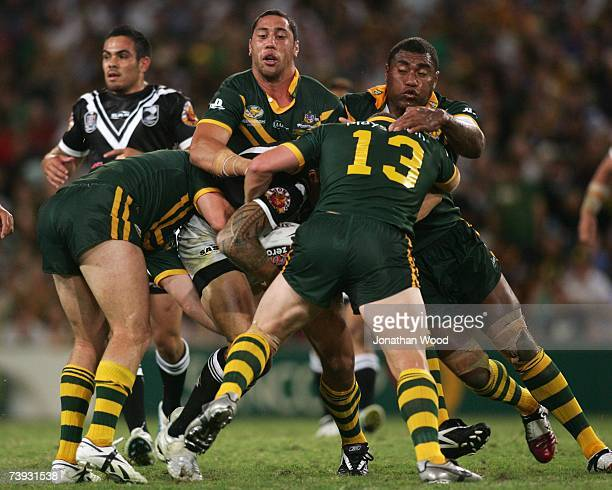 Sonny Bill Williams of the Kiwis is mobbed by the Kangaroos defense during the ARL Bundaberg Test match between the Australian Kangaroos and the New...