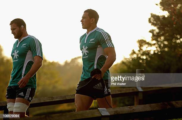 Sonny Bill Williams of the New Zealand All Blacks arrives at training with Kieran Read at Harrow School on November 4 2010 in London England
