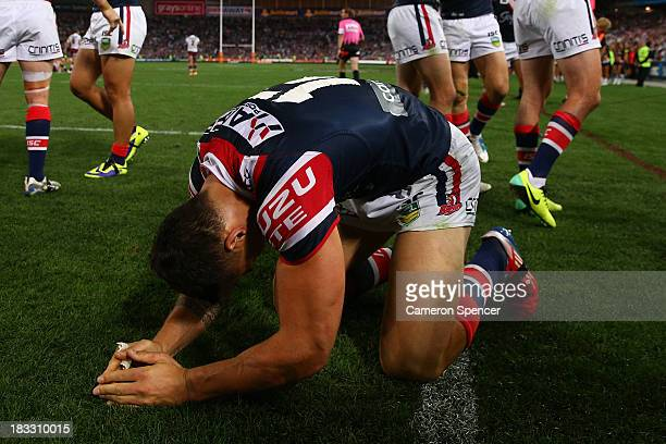 Sonny Bill Williams of the Roosters celebrates after winning the 2013 NRL Grand Final match between the Sydney Roosters and the Manly Warringah Sea...