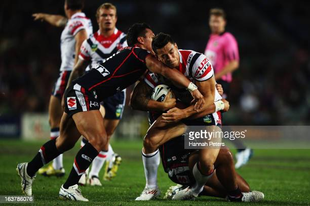Sonny Bill Williams of the Roosters charges forward during the round two NRL match between the New Zealand Warriors and the Sydney Roosters at Eden...