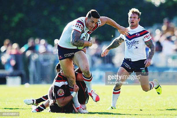Sonny Bill Williams of the Roosters charges forward during the round 24 NRL match between the New Zealand Warriors and the Sydney Roosters at Mt...