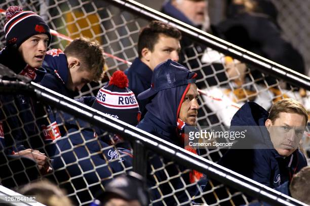 Sonny Bill Williams of the Roosters looks on from the sidelines during the round 15 NRL match between the Wests Tigers and the Sydney Roosters at...