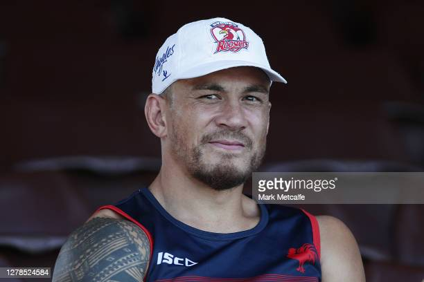 Sonny Bill Williams of the Roosters sits in the stand before joining a Sydney Roosters NRL training session at Sydney Cricket Ground on October 05,...
