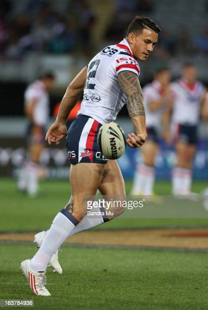Sonny Bill Williams of the Roosters warms up before the round two NRL match between the New Zealand Warriors and the Sydney Roosters at Eden Park on...