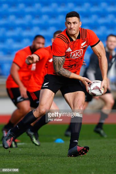 Sonny Bill Williams passes during a New Zealand All Blacks training session at Trusts Stadium on June 13 2017 in Auckland New Zealand