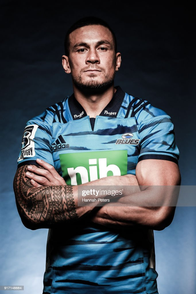 Sonny Bill Williams poses during the Blues Super Rugby headshots session at Blues HQ on February 12, 2018 in Auckland, New Zealand.