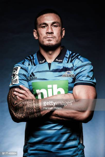 Sonny Bill Williams poses during the Blues Super Rugby headshots session at Blues HQ on February 12 2018 in Auckland New Zealand