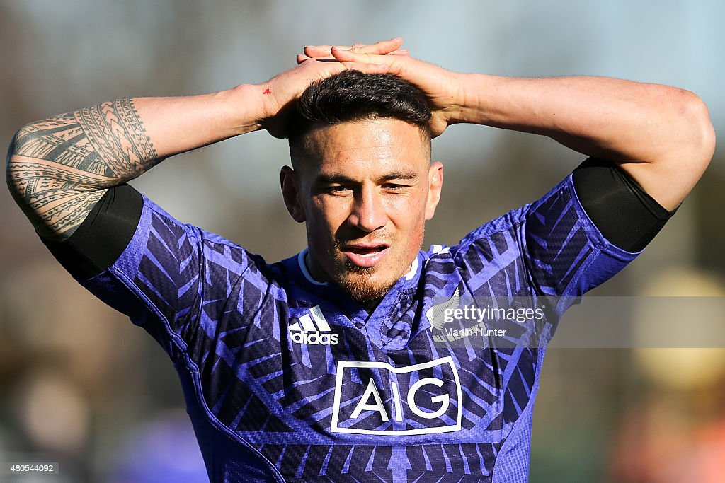 Sonny Bill Williams reacts after some drill work during a New Zealand All Blacks training session on July 13, 2015 in Christchurch, New Zealand.