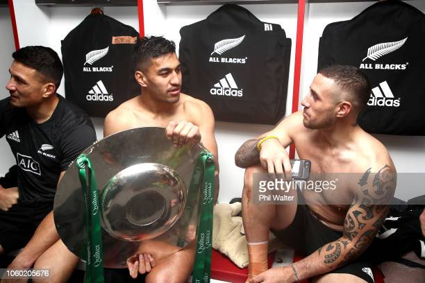 Sonny Bill Williams Rieko Ioane and TJ Perenara with the Hillary Shield following the Quilter International match between England and New Zealand at...