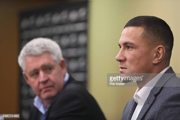 Sonny Bill Williams speaks alongside NZRU CEO Steve Tew during a press conference at the Heritage Hotel on June 1 2016 in Auckland New Zealand Sonny...