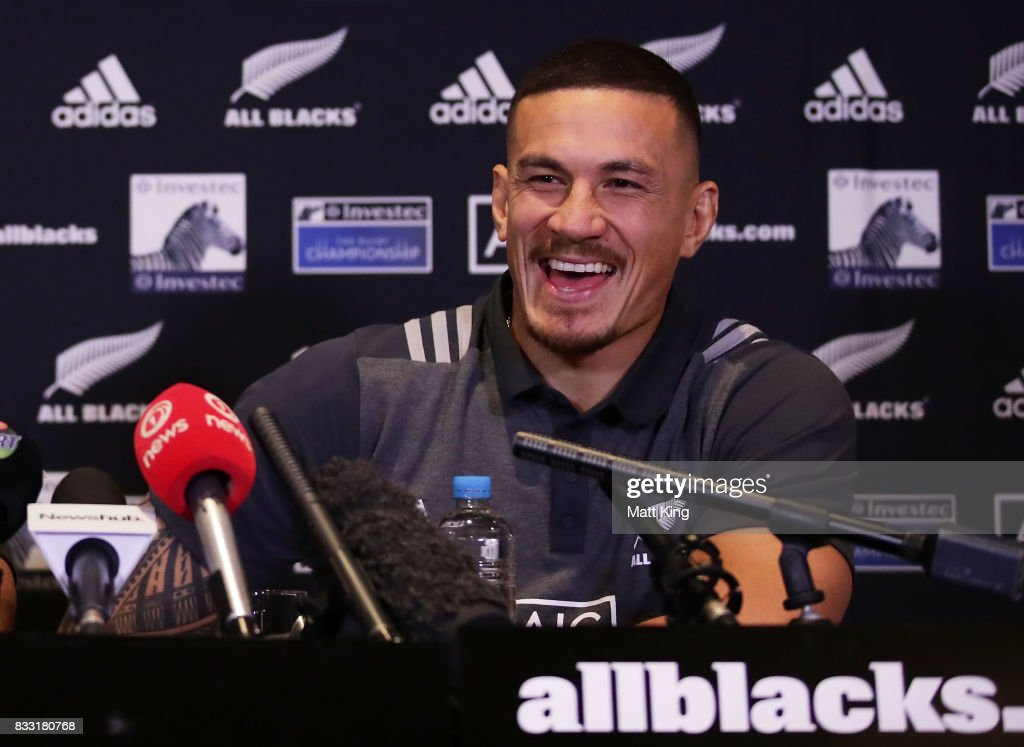 Sonny Bill Williams speaks to the media during a New Zealand All Blacks press conference at The Intercontinental on August 17, 2017 in Sydney, Australia.