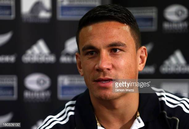 Sonny Bill Williams talks to the media during a New Zealand All Blacks media session at The Heritage Hotel on August 16 2012 in Auckland New Zealand