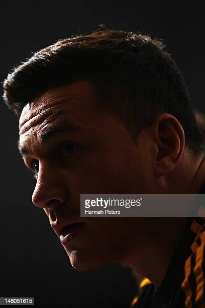 Sonny Bill Williams talks to the media during a press conference on July 9 2012 in Hamilton New Zealand Williams has signed a deal with the Japanese...