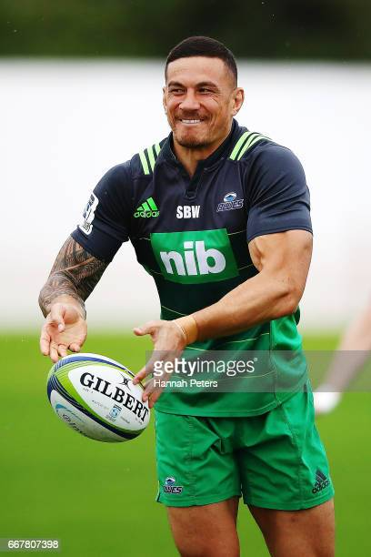 Sonny Bill Williams wearing a new training jersey with no sponsorship on his colar attends an Auckland Blues Super Rugby training session at Eden...