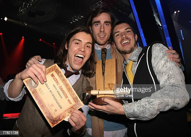 Sonny Byrd Nathan Fowlerand Greg Laird of the band Stella By Starlight pose with the Best Music on Campus Woodie award at the 2007 mtvU Woodie Awards...