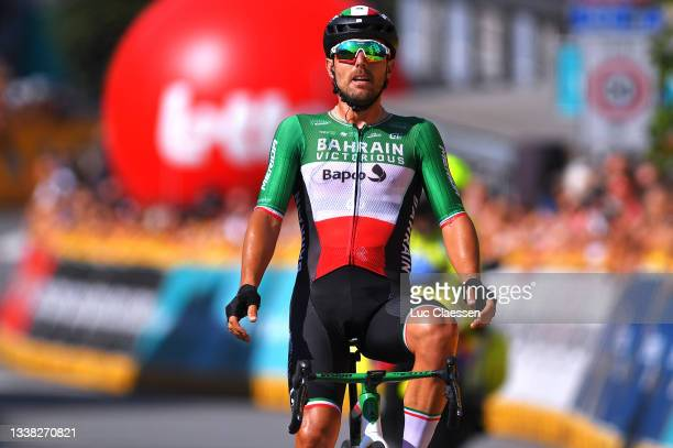 Sonny Colbrelli of Italy and Team Bahrain Victorious celebrates winning during the 17th Benelux Tour 2021, Stage 6 a 207,6km stage from...