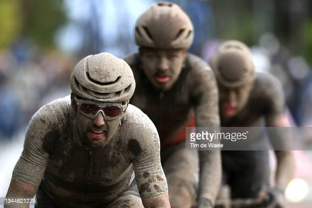 Sonny Colbrelli of Italy and Team Bahrain Victorious covered in mud competes in the breakaway during the 118th Paris-Roubaix 2021 - Men's Eilte a...